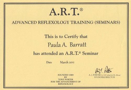 Advanced Reflexology Training Certificate March 2012
