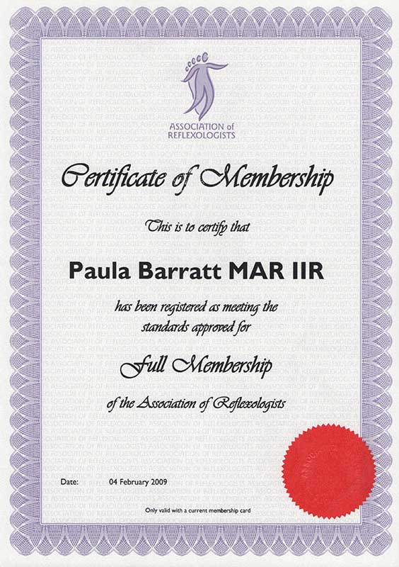 Certificate of Membership of Association of Reflexologists