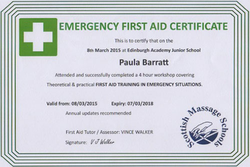 First Aid Certificate March 2015