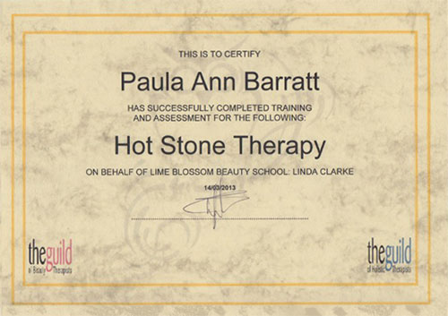 Hot Stone Therapy Certificate June 2013