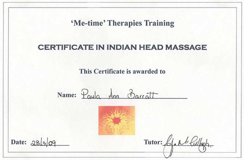 Indian Head Massage Certificate