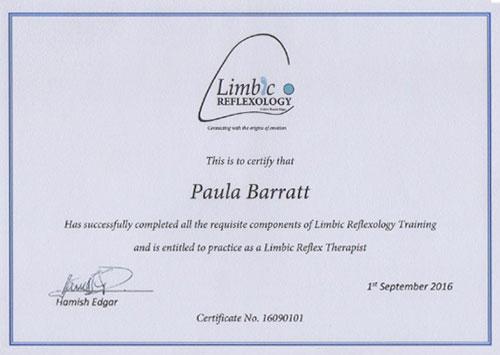 Limbic Reflexology Certificate September 2016
