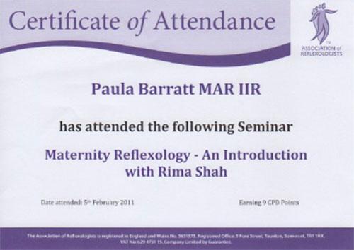 Maternity Reflexology Certificate February 2011