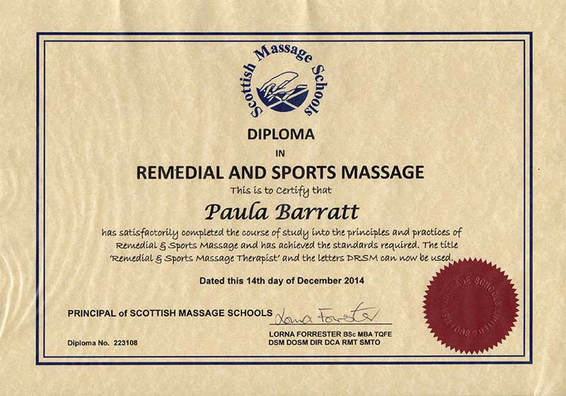Diploma in redeial and sports Massage December 2014