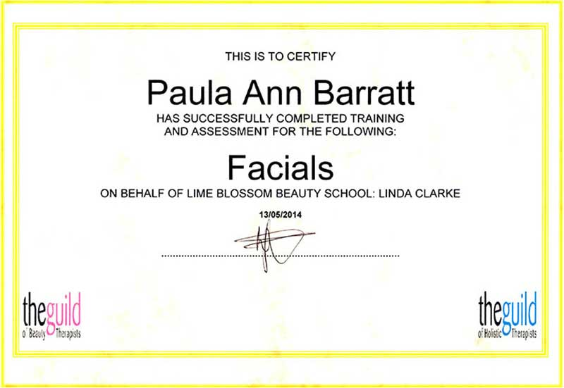 Facials Certificate