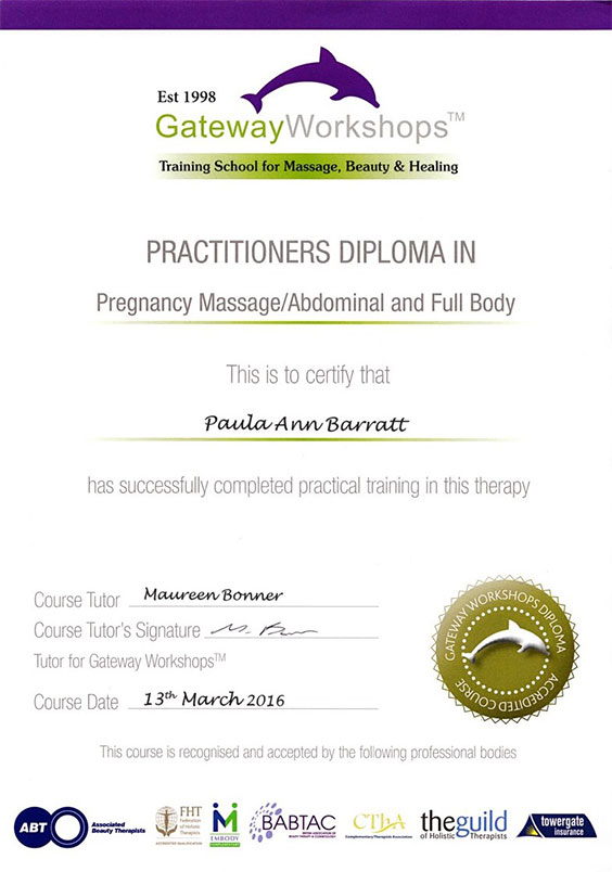 Practitioner diploma in Pregnancy Massage/abdominal and Full Body March 2016