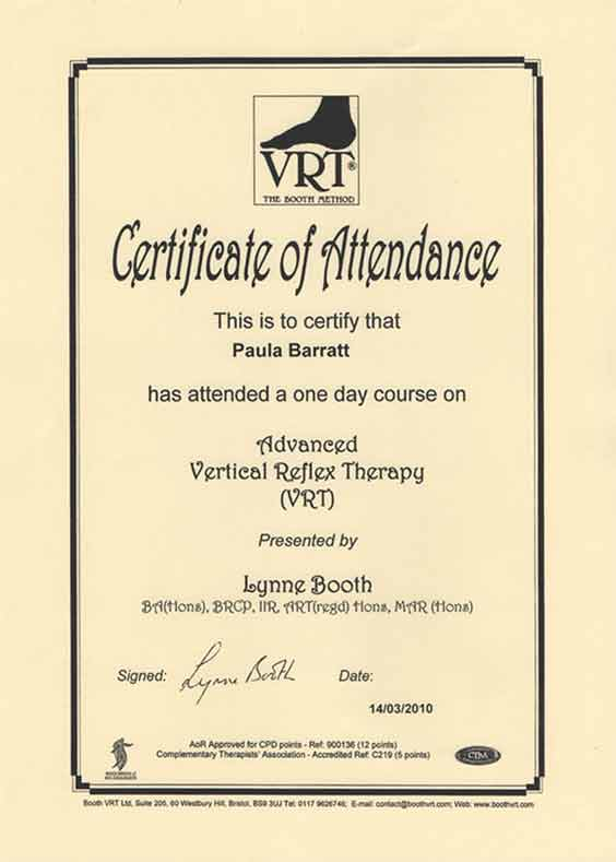 Advanced Vertical Reflex Therapy Certificate