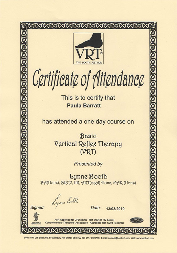 Basic Vertical Reflex Therapy Certificate